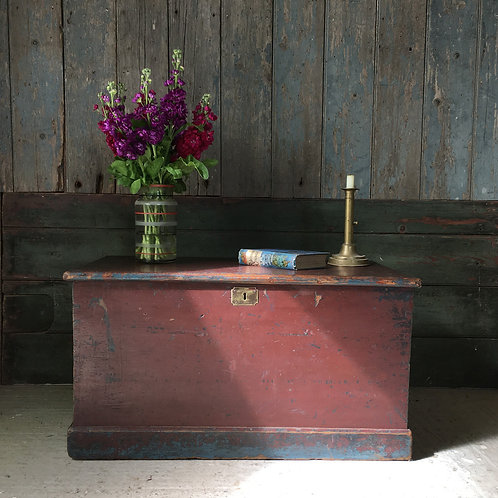 NOW SOLD - 19th century painted pine trunk