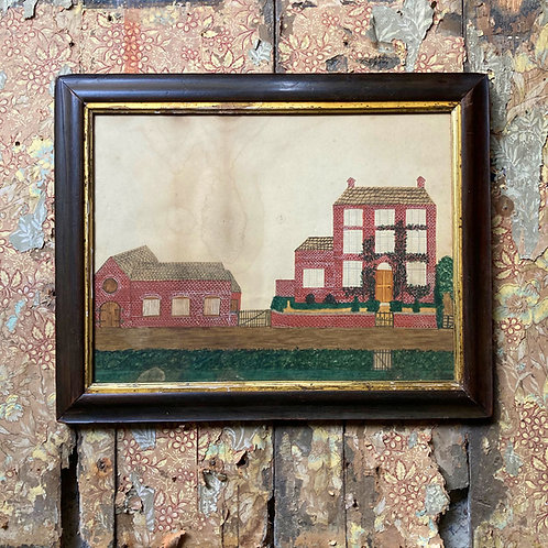 SOLD - English School naive painting of a house