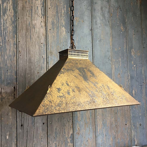 NOW SOLD - Vintage mirrored steel pendant light - gold