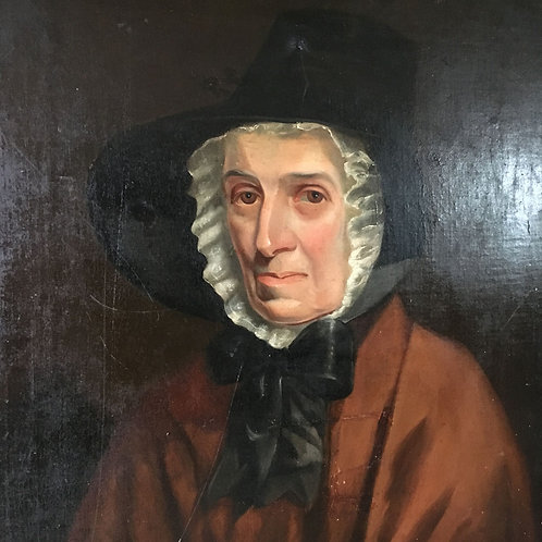 A 19th C. portrait of woman in black hat