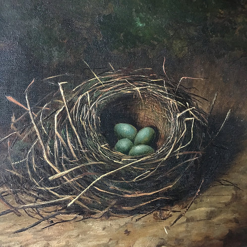 NOW SOLD - Antique oil painting - Bird's Nest, c.1890