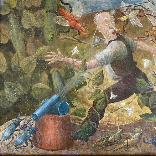 NOW SOLD - Postwar oil painting - 'Gardener's Nightmare'
