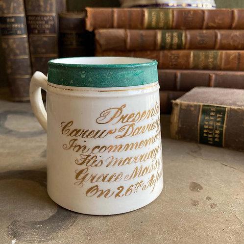 Victorian wedding mug - 'Carew Davies Gilbert'