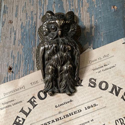 NOW SOLD - Vintage brass owl letter clip