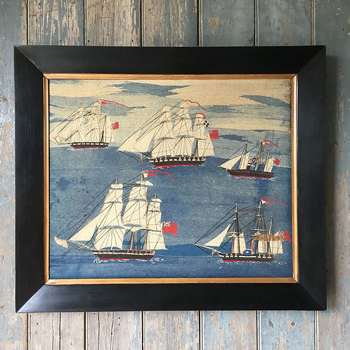 NOW SOLD - 19th C sailor's woolwork naval ships