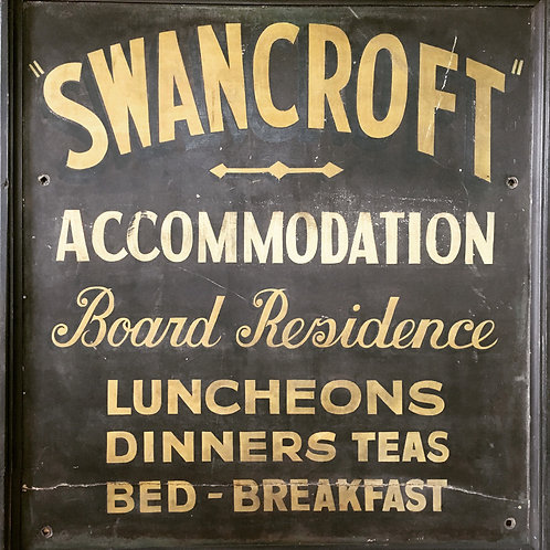 NOW SOLD - Vintage painted trade sign - 'Swancroft'