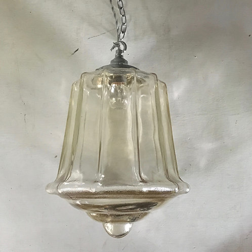 NOW SOLD - Vintage glass lantern pendant light