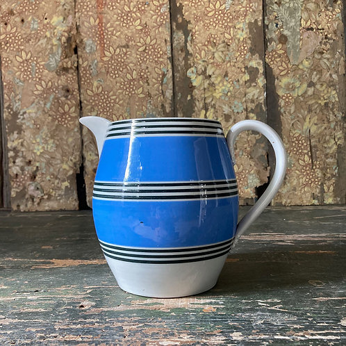 NOW SOLD - Large mochaware pitcher jug - 'Blue & Black'