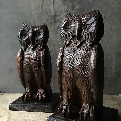 NOW SOLD - Folk art wooden owl bookends