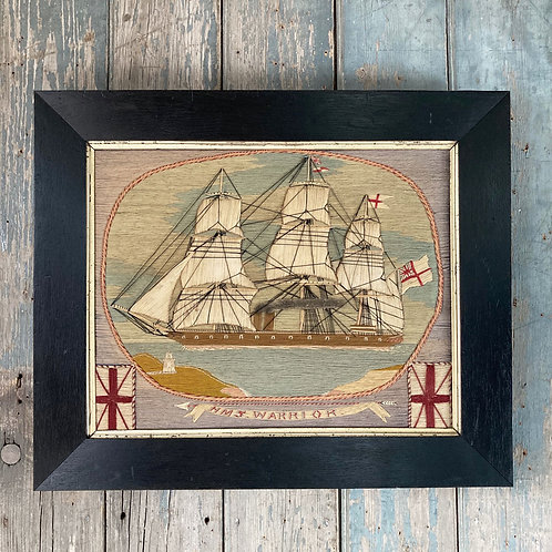 NOW SOLD - 19th Century sailor's woolwork - 'HMS Warrior'