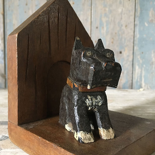 NOW SOLD - Folk art terrier dog bookends