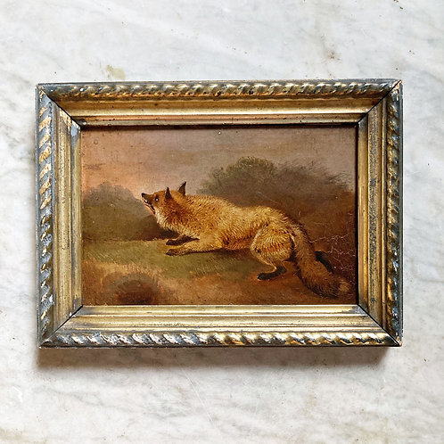 NOW SOLD - 19th C. naive English School oil painting - Fox