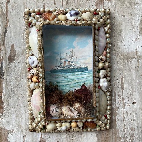 NOW SOLD - Victorian sailor's shellwork valentine - 'Dreadnought'