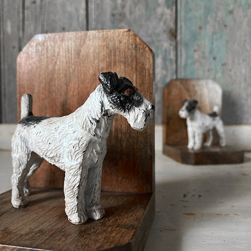 SOLD - Antique Fox Terrier bookends