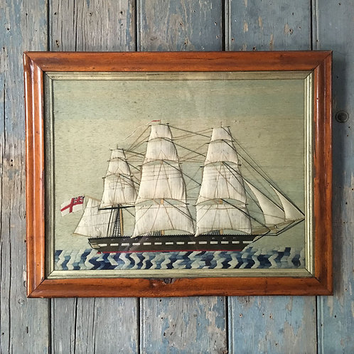 NOW SOLD - 19th C sailor's woolwork ship
