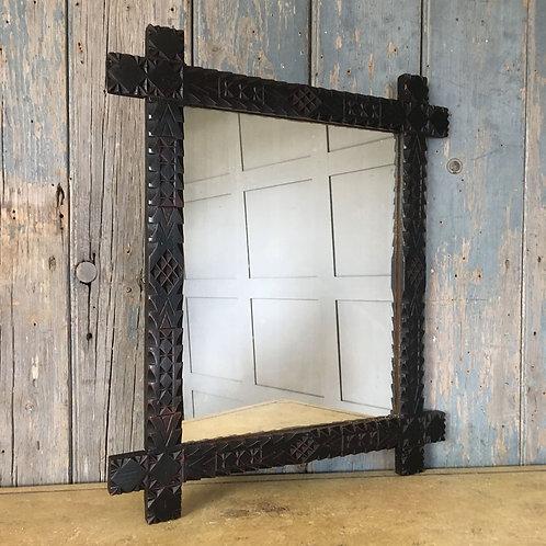 NOW SOLD Victorian 'Tramp Art' mirror (black)