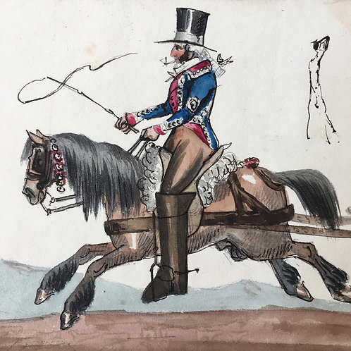 NOW SOLD - Regency watercolour painting - carriage jockey