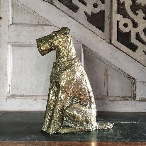 NOW SOLD - Large brass fox terrier door stop