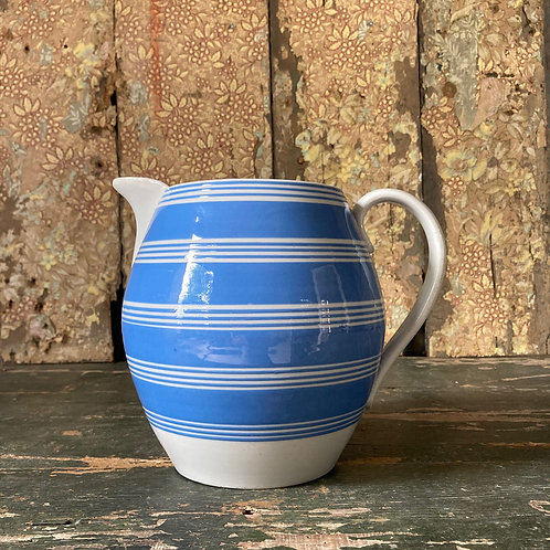 NOW SOLD - Large mochaware pitcher jug - 'Blue & White'