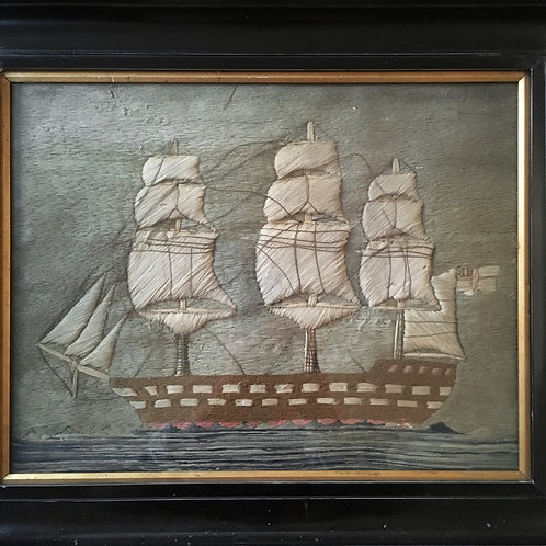 NOW SOLD - 19th century sailor's woolwork - naval ship