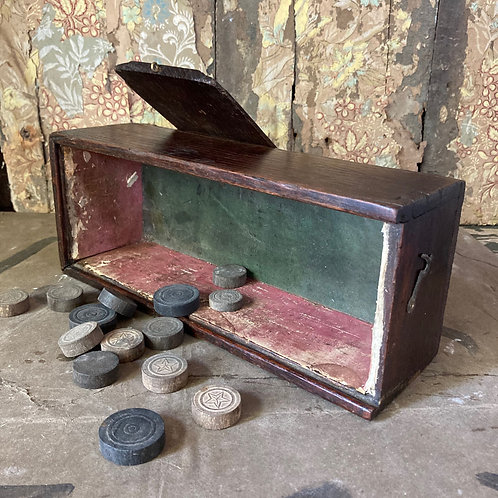 NOW SOLD - Antique oak chess / games box
