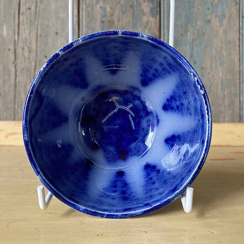 Antique spongeware bowl - flow blue