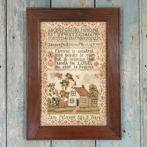 NOW SOLD - Antique dog and house sampler