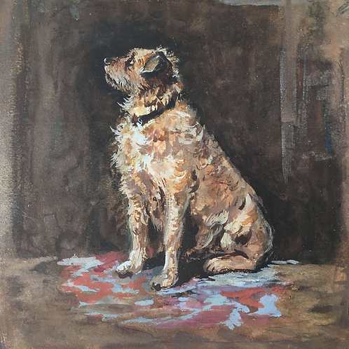 NOW SOLD - Edwardian 'terrier dog' watercolour painting