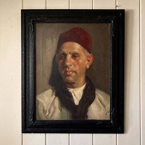 British School oil portrait - 'Man in Fez'