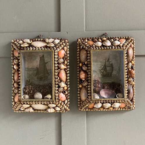 NOW SOLD - Victorian sailor's shellwork valentines - 'Sailboats'