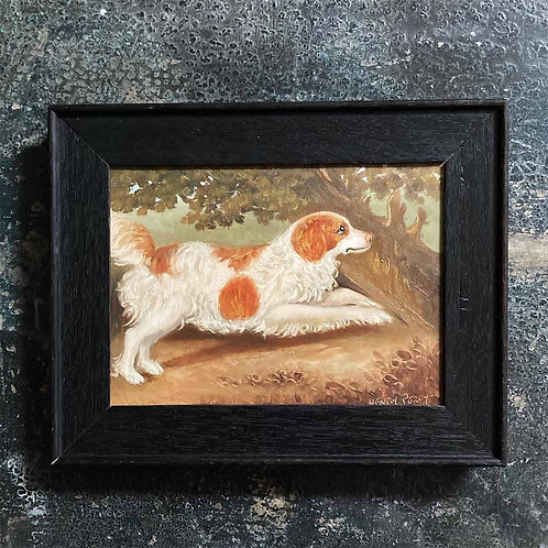 SOLD - Naive spaniel dog oil painting