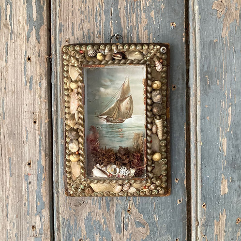 NOW SOLD - Victorian sailor's shell valentine - 'Evening sailboat'