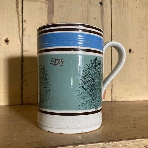 NOW SOLD - Antique mochaware mug (sage)