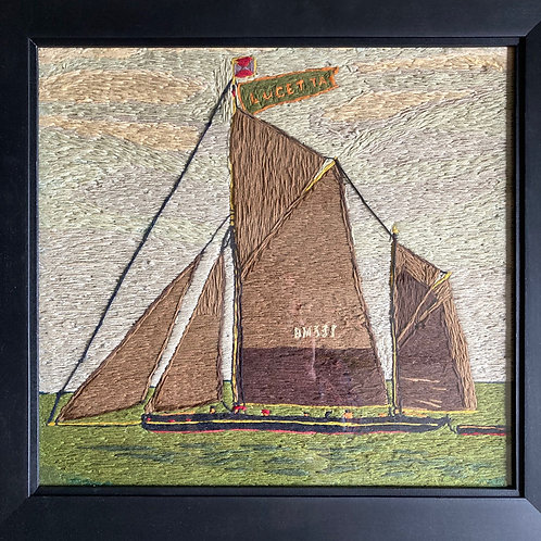 NOW SOLD - Antique sailor's woolwork - 'Lugger'
