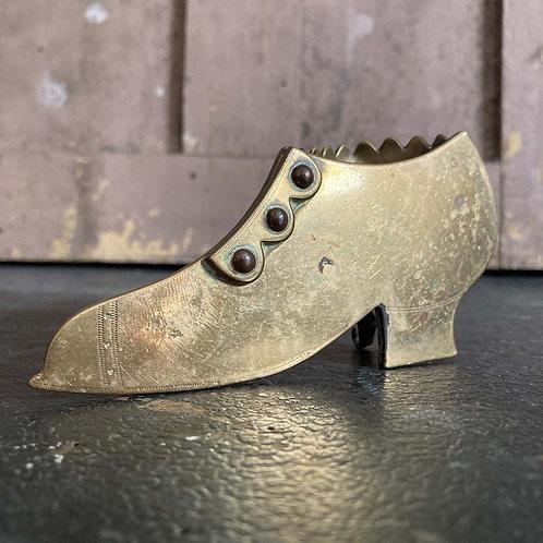 Antique folk art brass shoe