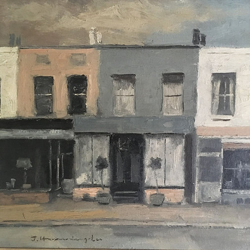 NOW SOLD - Mid-century oil painting - shop fronts