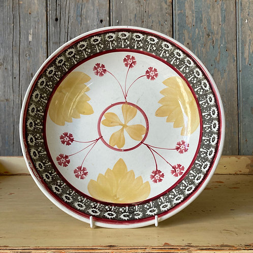 SOLD - Antique spongeware bowl - 'Garden'