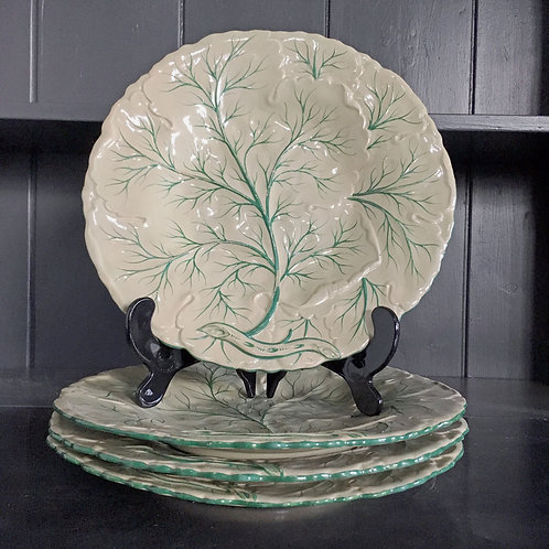 NOW SOLD - Four Victorian earthenware cabbage design plates