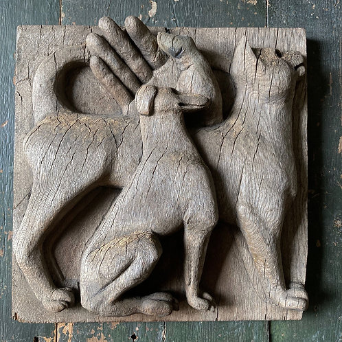 NOW SOLD - Carved wood cat & dog panel