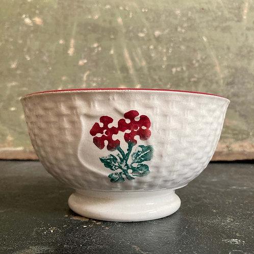 Antique spongeware bowl - 'Basketweave'