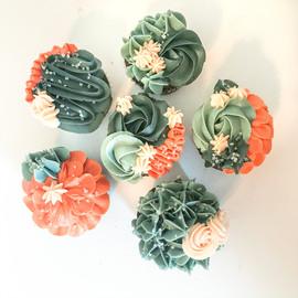 Teal and Orange Floral Cupcakes