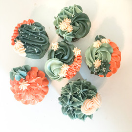 Teal and Orange Floral Cupcakes