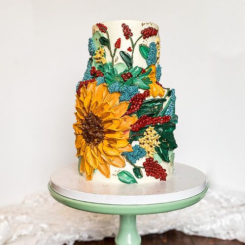 Painted Bouquet Cake