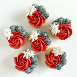 Red Floral Cupcakes