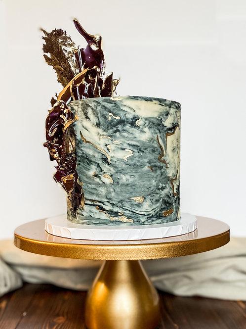 Metallic Marbled Buttercream Cake