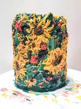 Italian Painted Sunflower Cake