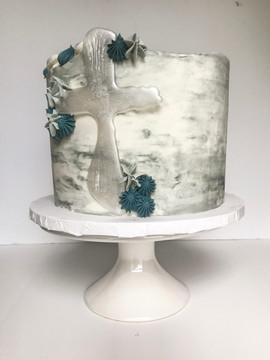 Marble Baptism Cake