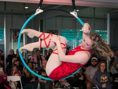 Mary Cyrus performing on aerial hoop