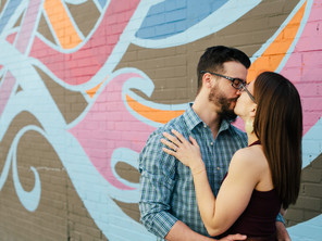 Downtown McKinney Engagement Session for Book Lovers: Ashley & Matthew