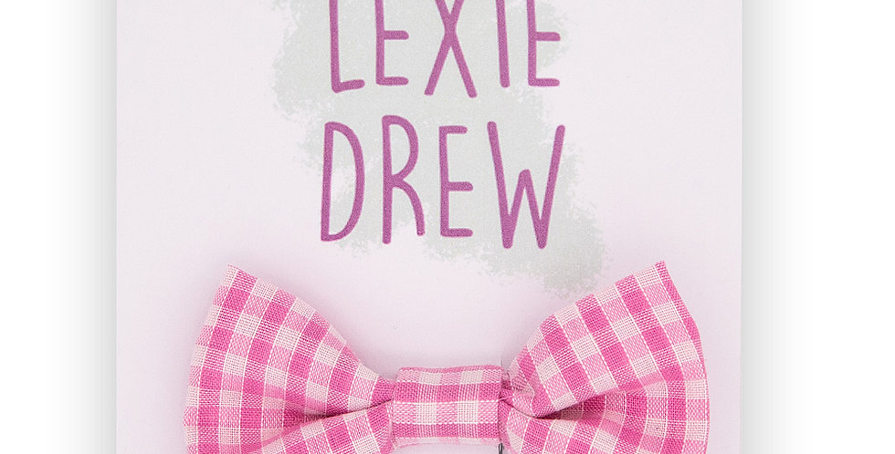 Pink Gingham Bow Hair Clip